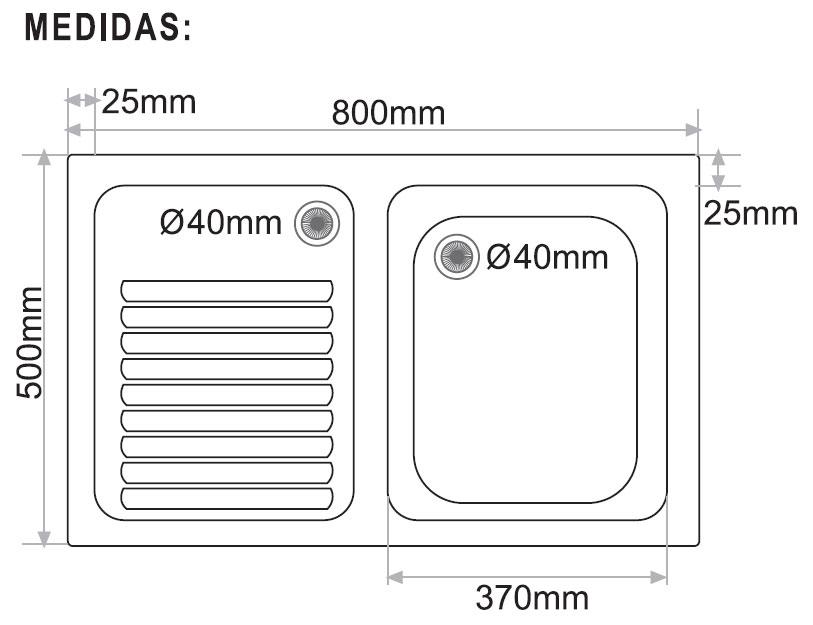 Lavadero de fibra sobre encimera syan thor 800 x 500 mm for Lavadero medidas